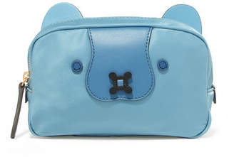 Anya Hindmarch Leather-trimmed Shell Cosmetics Case - Blue