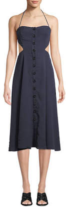 Fame & Partners Lina Open-Back Button-Front Dress
