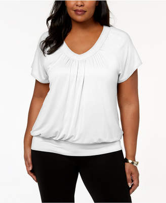JM Collection Plus Size Blouson Top