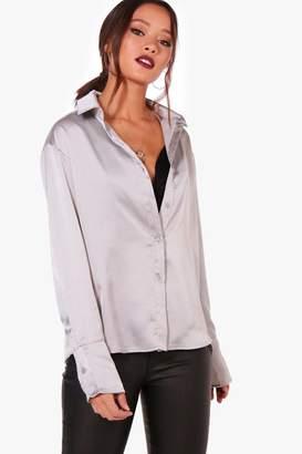 boohoo Cassie Premium Satin Shirt