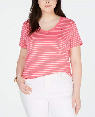 Tommy Hilfiger Plus Size Striped Cotton V-Neck T-Shirt