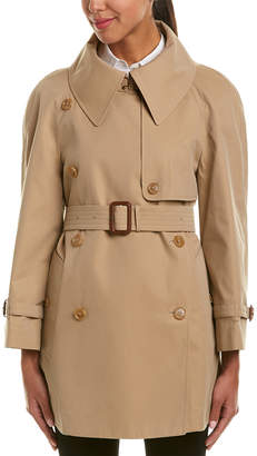 Burberry Exaggerated Collar Cotton Trench Coat