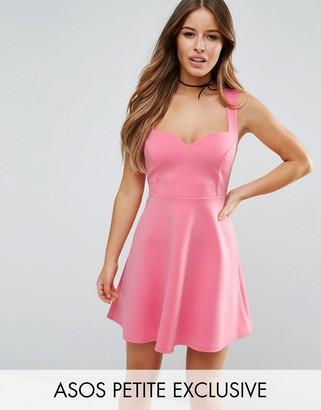 ASOS Petite ASOS PETITE Deep Plunge Scuba Skater Sweetheart Mini Dress $38 thestylecure.com