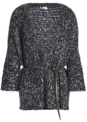 Brunello Cucinelli Belted Sequin-Embellished Marled Bouclé-Knit Cardigan