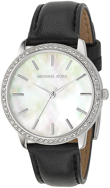 Michael Kors Mother of Pearl Crystal Rim Watch