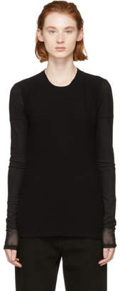 Proenza Schouler Black PSWL Top-Gauze Long Sleeve T-Shirt