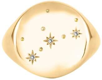 No 13 - Virgo Constellation Signet Ring Diamonds & 9ct Gold