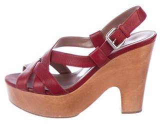 Tabitha Simmons Leather Platform Sandals Red Leather Platform Sandals