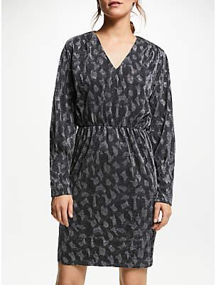 Y.A.S Glitter V-Neck Dress, Silver