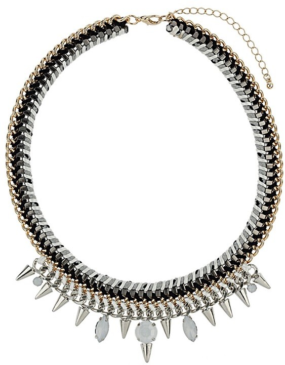 Topshop 'Cord & Stone' Collar Necklace Silver/ Gold
