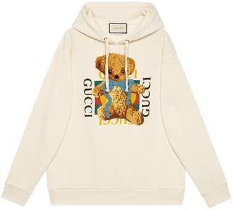 Gucci Oversize sweatshirt with logo and teddy bear