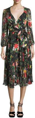 Alice + Olivia Abney V-Neck Floral-Print Wrap Shirtdress