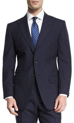 TOM FORD O'Connor Base Peak-Lapel Pinstripe Two-Piece Suit, Navy $4,270 thestylecure.com