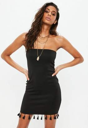 Missguided Black Scuba Bandeau Tassel Hem Bodycon Dress