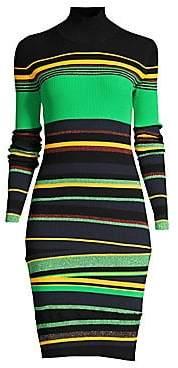 Diane von Furstenberg Women's Finn Stripe Thumb hole Cuff Rib-Knit Bodycon Dress