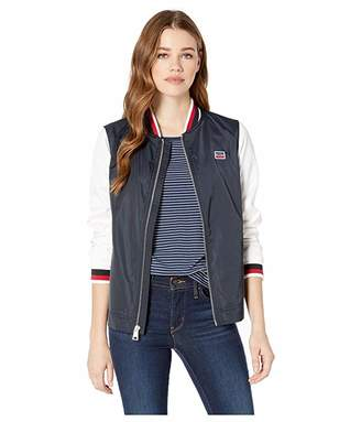 Levi's Poly Satin Color Block Open Bottom Jacket with Rib Knit