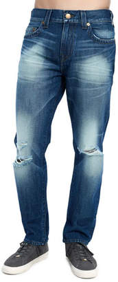 True Religion Men's Geno Distressed Straight-Leg Jeans