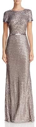 Aqua Belted Sequin Gown - 100% Exclusive