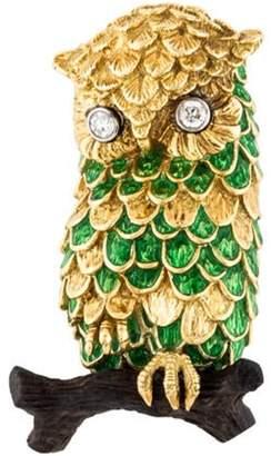 18K Diamond, Enamel, & Wood Owl Brooch yellow 18K Diamond, Enamel, & Wood Owl Brooch