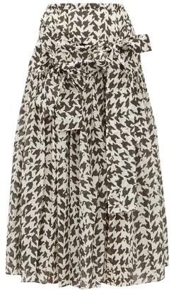 Sara Lanzi Houndstooth Print Cotton Blend Midi Skirt - Womens - Black White