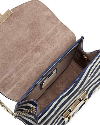 Furla Julia Mini Zebra-Print Leather Crossbody Bag
