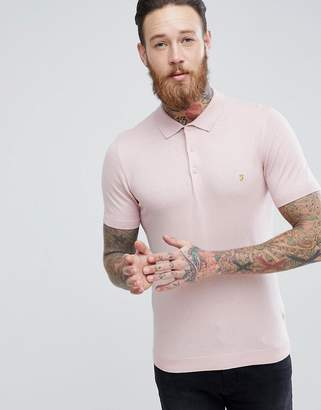 Farah Ben Slim Fit Knitted Polo In Pink