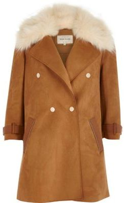 River Island River Island Womens Brown faux fur collar coat