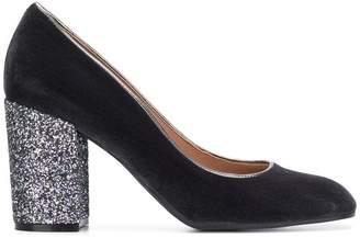 Pollini glitter chunky heel pumps