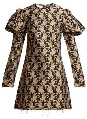 Marques Almeida Marques'almeida - Leaf Jaquard Mini Dress - Womens - Black Gold