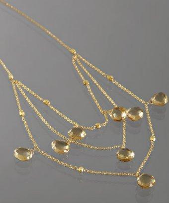 Nancy Cohen champagne citrine triple layered necklace