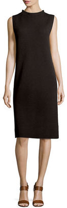 Eileen Fisher Sleeveless Funnel-Neck Wool Sheath Dress $248 thestylecure.com