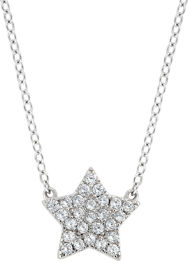 CRISLU Necklace, Platinum Over Sterling Silver Cubic Zirconia Star Mini Pendant Necklace (1/3 ct. t.w.)