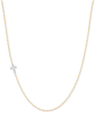 "Elsie May Diamond Accent Asymmetrical Cross Pendant Necklace in 14k Gold, 15"" + 1"" extender"