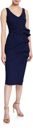 Chiara Boni V-Neck Sleeveless Belted Cocktail Dress w/ Side Detail