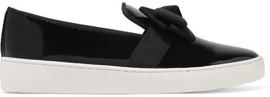 Michael Kors Collection - Val Grosgrain-trimmed Patent-leather Slip-on Sneakers - Black