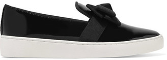 Michael Kors Collection - Val Grosgrain-trimmed Patent-leather Slip-on Sneakers - Black $275 thestylecure.com
