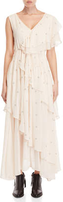 Religion Edge Embroidered Tiered Maxi Dress