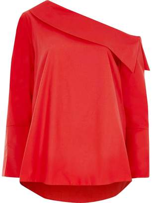 River Island Womens Red one shoulder long sleeve top
