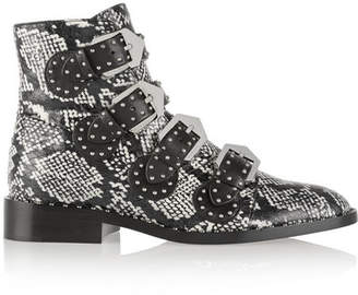 Givenchy - Studded Ankle Boots In Elaphe And Leather - Snake print $2,095 thestylecure.com