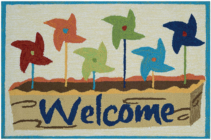 CouristanCouristan Welcome Pinwheels Hooked Rectangle Accent Rug