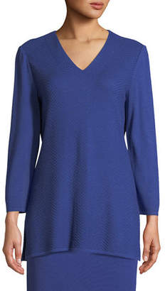 Misook V-Neck 3/4-Sleeve Wool-Blend Sweater