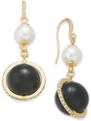 Charter Club Gold-Tone Pavé & Imitation Pearl Drop Earrings, Created for Macy's