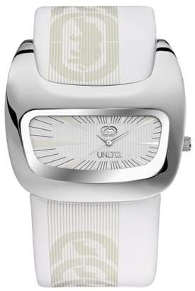 Ecko Unlimited Men's The Galactica Silver Textured Dial Watch E15090G2 with a White Leather Cuff Strap