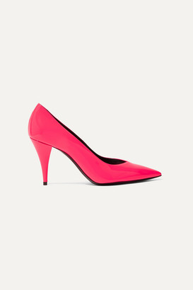 Saint Laurent Kiki Neon Patent-leather Pumps - Fuchsia
