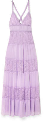 Alice + Olivia Amena Tiered Lace And Crepon Maxi Dress