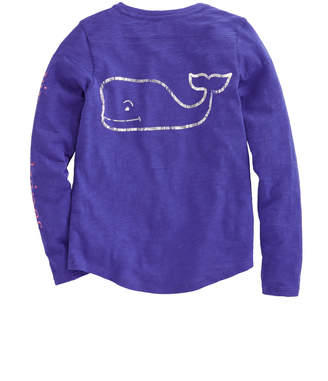 Vineyard Vines Girls Long-Sleeve Two-Tone Foil Classic Whale Tee