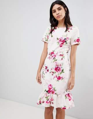 Paper Dolls Frill Hem Floral Bodycon Dress