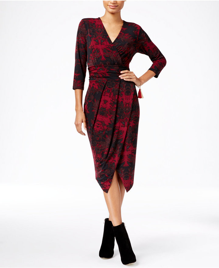 RACHEL Rachel Roy Printed Faux-Wrap Dress