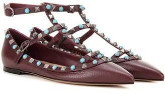 Valentino Rockstud Rolling leather ballerinas
