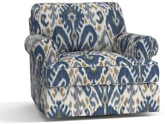 Pottery Barn Townsend Upholstered Swivel Armchair - Print and Pattern